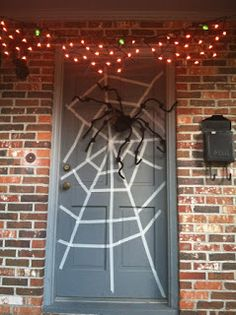 paint paper black and put white over for web gave me a great idea for my front door - Halloween Front Doors