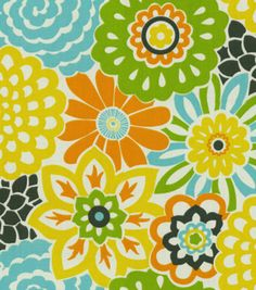This retro flower fabric will make any room bloom! @Waverly #homedecor #waverize