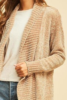 Taupe chenille shawl collar cardigan featuring pocket detail at side. Non-sheer. Shawl Collar Cardigan, Summer Cardigan, Pocket Detail, Taupe, Pullover, Sweaters, Image, Fashion, Beige