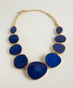 style #318895501 gold and blue enameled stone bib necklace