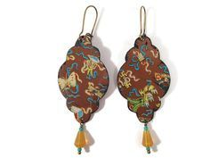 Recycled Tin Earrings, Brown Chinese Pattern with butterscotch colored beads by TinMoonJewelryworks on Etsy. $36
