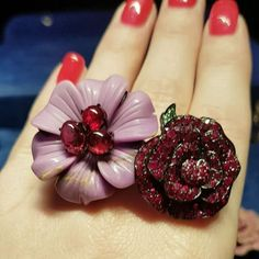 Lydia Courteille Carved Violet Phosphosiderite Flower Ring with Rubies; Ruby Rose Ring with Emeralds High Jewelry, Jewelry Rings, Lydia Courteille Jewelry, Artisan Jewelry, Antique Jewelry, Ruby Rose, Shades Of Red, Jewerly, Gems