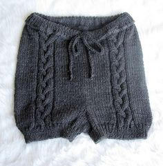 Hand knitted cute cable knit shorts in charcoal by fuzzybazooke - StyleSays