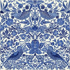 Strawberry thief, Mustache, black on white The William Morris Tile adaptations of Strawberry Thief are registered with the US Copyright office. You are free to use them for non-commercial purposes. William Morris Wallpaper, William Morris Art, Morris Wallpapers, Blue And White Wallpaper, Blue And White Fabric, White Fabrics, Victorian Tiles, Art And Craft Design, Medieval Art