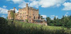 Dalhousie Castle, Edinburgh, Scotland. Thirteenth century Scottish castle turned luxury hotel with 27 elegant bedrooms, many of them decorated in historical themes.