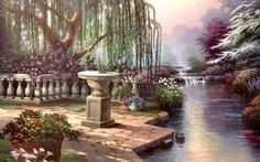 Hour of Prayer by Thomas Kinkade - art, artwork, floral, flowers, Kinkade, painting, river, scenery, sundial, Thomas Kinkade, weeping willow, wide screen
