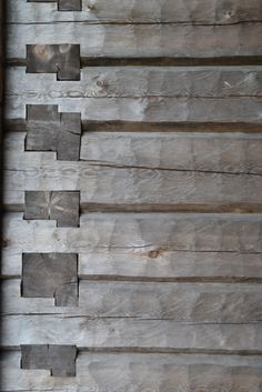Log cabin wall joints. This technique has been used in wood flooring applications.