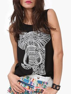 Good for weekend wear, comfortable Black Elephant Print Sleeveless Loose Vest