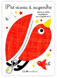 Oiseaux à suspendre Fifi Mandirac chez Mémé Ginette http://memeginette.bigcartel.com
