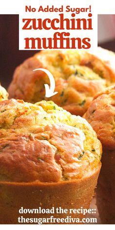 Gluten Free Muffins, Healthy Muffins, Zucchini Muffins, Diabetic Meals, Diy Recipe, Fall Baking, Sugar Free, Diva, Deserts
