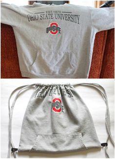 1. Eski kapişonlu sweatshirt: Yeni ipli sırt çantası