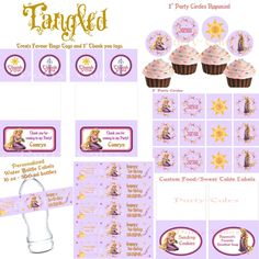 Tangled Disney Princess Rapunzel Birthday Girl Printable party Collection Cupcake toppers Favors Thank you tags Water bottle labels treats. $19.95, via Etsy.