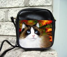 Small Sling Bag Purse Accessory Cat 566 Fall Autumn Art Painting By L.Dumas