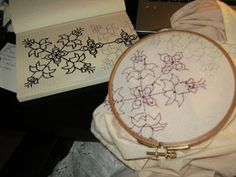 Example of Renaissance-style embroidery, with links to a collection of printable patterns.