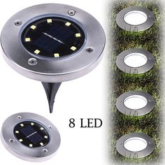 8 LED Solar Power Buried Light Under Ground Lamp Outdoor Path Way Garden Decking - Solar Lamp - - 8 LED Solar Power Buried Light Under Ground Lamp Outdoor Path Way Garden Decking Price : Solar Powered Lights, Solar Lights, Light In, Light Bulb, White Light, Led, Lawn Lights, Solar Panel Cost, Waterfall Fountain