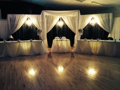 Grand Canopy wedding backdrop with sweetheart table,crystal curtains and chandeliers. love