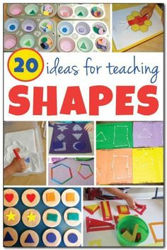 20 ideas for teaching shapes to young children. These fun, hands-on ideas will help your child learn shapes while having fun shapes ece preschool Preschool Classroom, Preschool Learning, In Kindergarten, Toddler Activities, Learning Activities, Preschool Activities, Preschool Shapes, Kids Shapes, Shape Games For Kids