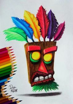 Drawing I found of the oogabooga mask from Crash Bandicoot games! Awesome colours and shading.