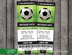 Green Soccer, football Ticket Birthday, Boys Birthday, Sports Birthday Idea, Invitation Digital Download by CuteLittleSigns on Etsy