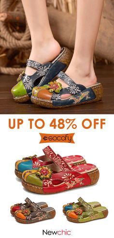 92c9171521a4 SOCOFY Vintage Colorful Leather Hollow Out Backless Flower Shoes is cheap  and comfortable. There are other cheap women flats and loafers online.