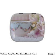 Tea Party Candy Tins After Dinner Mints Favours #tea #teaparty