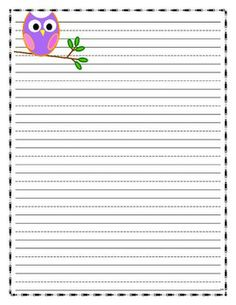 OWL Writing Paper   Lined Paper   Owl Theme  Lined Paper To Write On