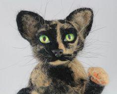 Custom Pet Portrait Miniature Tortoiseshell Cat Little Copy Your Pet Needle Felt Art Cat Doll Animal Decorating Shelves Felting Dreams by KNartDesign on Etsy