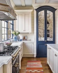 Southern Home on Instagram: �The pop of blue in this otherwise neutral kitchen feels just right! Thanks to @businessofhome for sharing this project from Matthew Quinn��