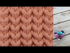 Point tricot petites vagues relief - YouTube