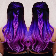 Purple Hair Purple Color Melt with Violet Hair hotonbeauty.com Braid Braided Style