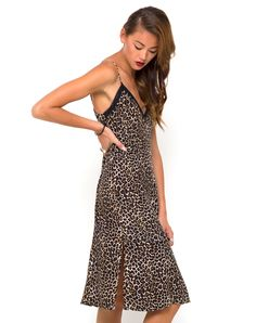 Buy Motel Nita Midi Slip Dress in 90s Leopard at Motel Rocks