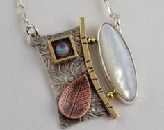 Mother of Pearl Pendant - Metalsmith Necklace - Opal Jewelry - Copper Leaf Pendant