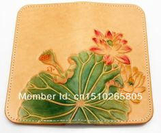 Lotus Flower Leaf Handmade Carved Tooled Tattoo Vintage Leather Biker Wallet $129.99