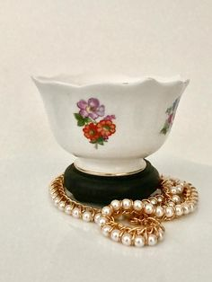 Bone china Shelton bowl hand painted floral scalloped rim mid