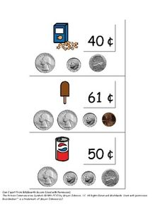 Match real coins to pictures of coins on flashcards.