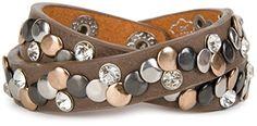 styleBREAKER Vintage Nieten Armband mit Strass und verschiedenfarbigen Nieten, Wickelarmband, Damen 05040002