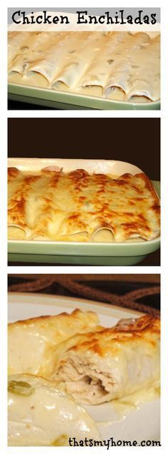 Chicken Enchiladas with Green Chili Sour Cream Sauce. Chicken breast, tortillas served in a creamy sour cream green chili sauce. (yogurt for sour cream) Sour Cream Sauce, Cream Sauce Recipes, I Love Food, Good Food, Yummy Food, Mexican Dishes, Mexican Food Recipes, Mexican Meals, Great Recipes