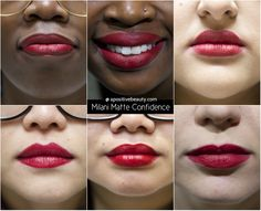 A Positive Beauty: Milani Moisture Matte Confidence Swatch on different skin tones. A full review of Milani's 2015 Moisture Matte Lipsticks only on apositivebeauty.com!   #lipsticks #Milani #beautyreviews #makeup
