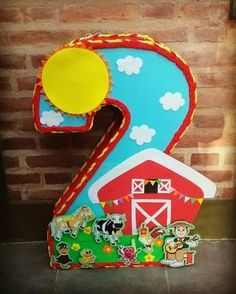 piñata granja de zenon con caramelos y papel picado Farm Animal Birthday, Farm Birthday, 2nd Birthday Parties, Barn Parties, Baby Girl 1st Birthday, Farm Theme, Farm Party, Party Supplies, Ideas Bonitas