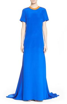 Roksanda 'Garnet' Colorblock Mock Neck Silk Gown available at #Nordstrom