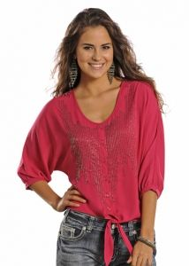 Rock & Roll Cowgirl Hot Pink Dolman Button Up Blouse