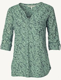 Mollie Peacock Print Popover (Light Moss or White)
