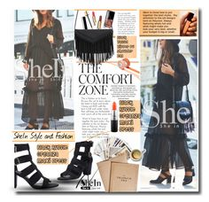 """SheIn Black Maxi Dress"" by lillili25 ❤ liked on Polyvore featuring Chronicle Books, Stila, MAC Cosmetics, women's clothing, women, female, woman, misses, juniors and Sheinside"