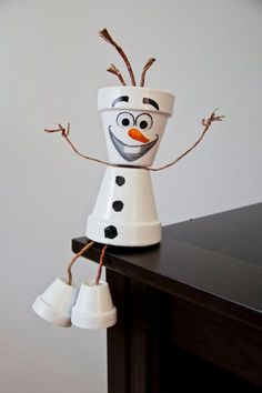 Olaf flower pot snowman Great for any garden or indoor outdoor decoration…
