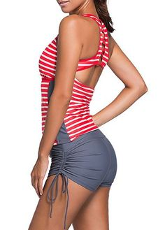 a053926369 Women Sexy Tankini Top Swimsuit Racerback Cut Two Pieces Sport Stripe Swimwear  Short Bottom Set Bathing Suit Medium Red Gray * Visit the image link more  ...