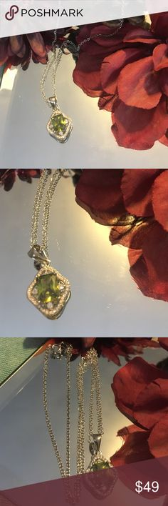 Peridot Necklace NWOT Beautiful .925 Sterling Silver, Peridot & AAA Grade Australian CZ's Necklace! Just gorgeous! Bundle with Peridot Earrings! Jewelry Necklaces