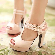 Women's Shoes Heel Heels / Peep Toe / Platform Sandals / Heels Outdoor / Dress / Casual Black / Pink / Almond/687 2017 - $22.99