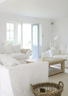 almost all white living room