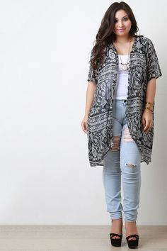 This plus size cardigan features a semi sheer chiffon fabrication ...