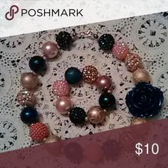 Girls/Toddlers Navy/Peach and Gold Necklace/Bracel Navy/Peach/Gold 22 MM Beads Lobster Claw Clasp. Large Navy Rose. Bracelet on Elastic band knotted 5 times for safety. Honeylambjewelry Accessories Jewelry